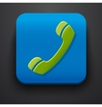 Green call symbol icon on blue vector image