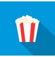 Popcorn in striped bucket icon flat style vector image