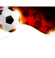 Soccer ball on wavy red background vector image