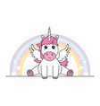 cute unicorn with wings sitting isolated vector image
