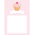 Pink card with white polka dots and sweet cupcake vector image