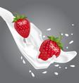 realistic strawberries in milk vector image