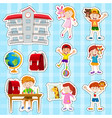 sticker set with students and school vector image