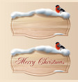 two wooden board with snow for greeting vector image