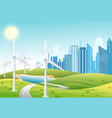wind power plant wind turbines green energy vector image
