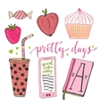 Hand drawn doodle set for teen girls vector image vector image