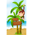A playful monkey at the beach with an arrowboard vector image