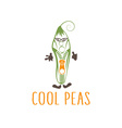 cool peas with zipper in sunglasses vegetarian vector image