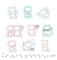 Set of sketch with cats vector image
