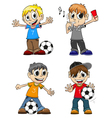 Soccer players and referee vector image