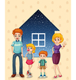 A family in front of the house vector image vector image