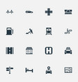 set of simple urban icons vector image