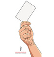 Hand with business card detailed vector image