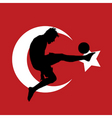 football player with Turkish flag vector image