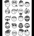 20 smiles icons set profession black and white vector image vector image