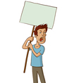 angry protester with white sign vector image