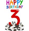 third birthday anniversary card vector image