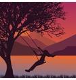 girl swing in tree near lake during sunset enjoy vector image
