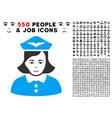 airline stewardess icon with bonus vector image