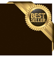 Best seller golden label with ribbons vector image
