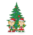 Christmas elves and fir tree vector image