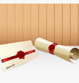 envelope with paper scroll and red wax seal vector image