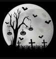 Silhouette background with bats in graveyard vector image