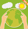 Hand holding earth with green ecology - - EP vector image
