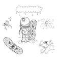 Cute girl with snowboard sketch for your design vector image