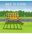 Yellow School Bus Driving Along Country Road vector image vector image