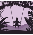 boy swing in tree enjoy time moment silhouette vector image