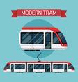 Modern Tram Icon Set vector image