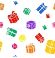 Seamless Gift pattern colored gift boxes on white vector image