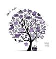 Sewing tree sketch for your design vector image vector image