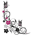 Tendril butterflies floral elements vector image