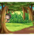 A young girl hiding at the forest vector image