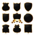 Collection of black and golden shields vector image