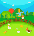 Scarecrow in the field full of ducks and chicken vector image