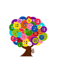 abstract tree with buttons vector image vector image