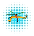 Helicopter icon comics style vector image