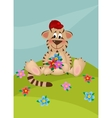 Tiger with bouquet of flowers vector image vector image