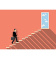 Businessman stepping up a staircase to success vector image