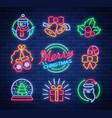 christmas neon signs on vector image