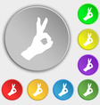 Gesture ok icon sign Symbol on eight flat buttons vector image