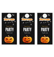 happy halloween black banner set pumpkin vector image