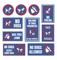 no dogs allowed labels dog restriction signs vector image