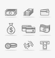 set business economy liner icon vector image