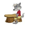 wolf sits at a school desk vector image