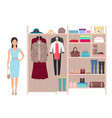 Beautiful fashion lady and women s wardrobe vector image