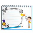 A notebook with a drawing of a boy playing vector image vector image